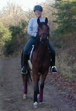 Kristen Bosgraf riding her horse Rabbi on the trail.