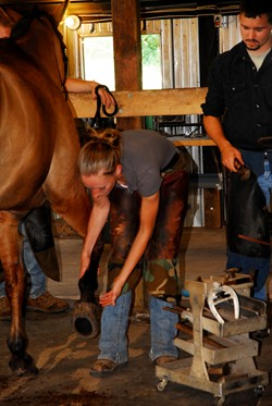 A farrier student