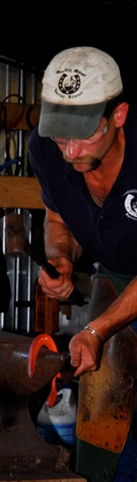 A student in a farrier career emphasis area course.