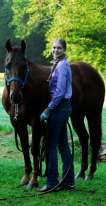 A student with her horse at Meredith Manor, an equestrian college.